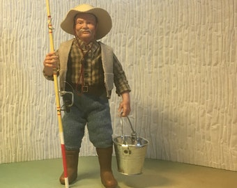 Grandpa Fisherman, 1:12 OOAK hand sculpted dollhouse miniature doll polymer clay. ALMA Artistry