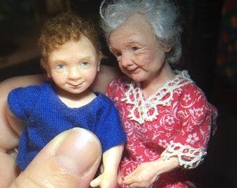 To Order Miniature OOAK 1:12 scale Granny, Grandma, dollhouse boy, miniature dollhouse, 1/12, ALMA Artistry.