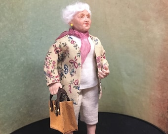SOLD. Granny 1:12 OOAK miniature hand sculpted doll grandmother f/dollhouse ALMA Artistry