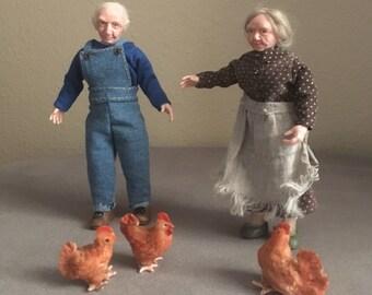 Miniature OOAK 1/12 Granny and Grandpa, chicks, dollhouse, ALMA Artistry. CUSTOM