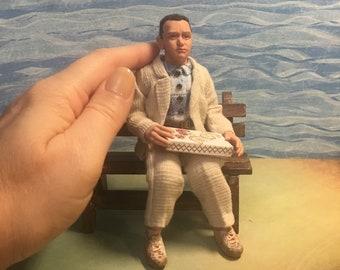 Forrest Gump 1:12 OOAK miniature hand sculpted doll f/dollhouse ALMA Artistry