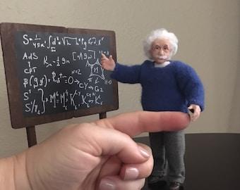 To Order Einstein OOAK 1/12 miniature handmade doll teacher for dollhouse. ALMA Artistry