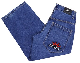 Vintage 90/'s IS Jeans Wide Leg Size 30 in Vtg Buggy Jeans Y2K Workwear Jeans 90/'s Hip Hop Jnco Style Jeans