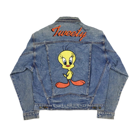 Vintage LOONEY TUNES Tweety Denim Jeans Jacket 199