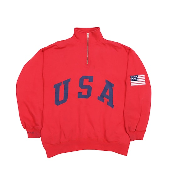 Vintage  Polo Sport spell out USA Flag Logo Sweats