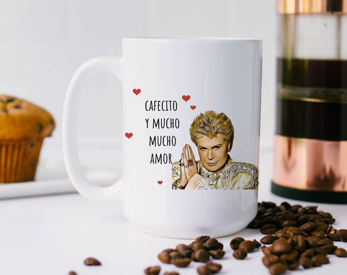 Featured listing image: Cafecito y mucho mucho amor - Walter Mercado - Mom's gift - gift for her - taza - latinx - novelas - latina mug -