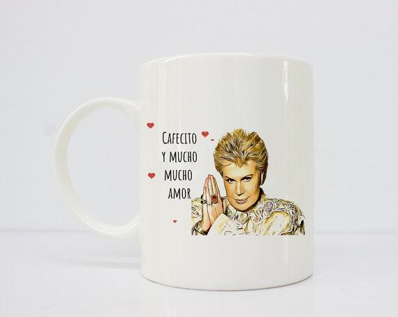 Cafecito y mucho mucho amor - Walter Mercado - Mom's gift - gift for her - taza - latinx - novelas - latina mug -
