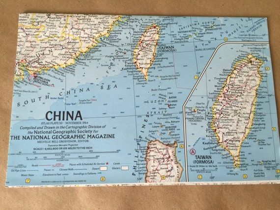 National Geographic Map Of China.1964 National Geographic Map Of China Map Taiwan Old Map Etsy