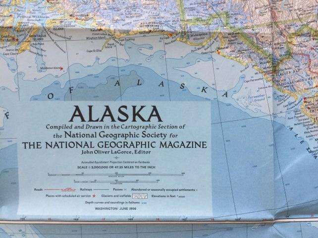 1961 Map Alaska National Geographic Map Etsy