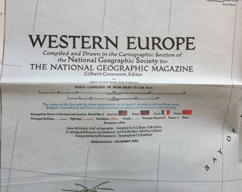 1950 Map of Western Europe National Geographic Map