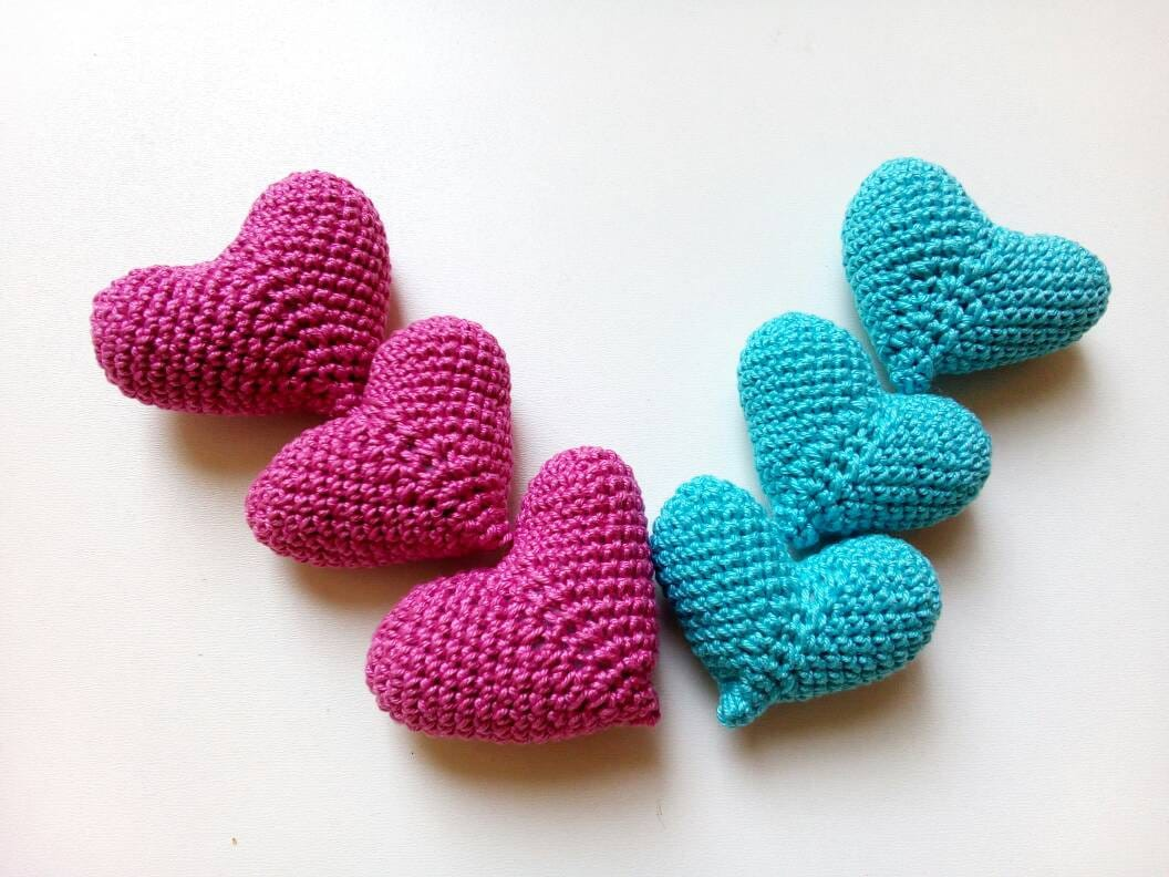 Crochet Wedding Gift: Crochet Stuffed Heart Bridal Shower Favor Gift Amigurumi