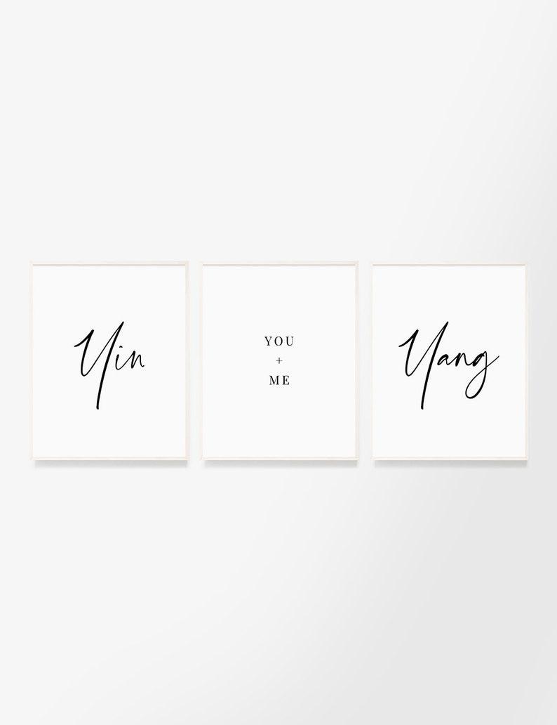 Yin And Yang You And Me Set Of 3 Printable Wall Art Quotes Etsy