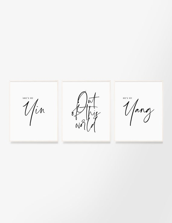 Soulmate love. Set of 3 printable wall art quotes. Yin and Yang. Love and  soul connection out of this world. Soul mates. Balance. Destiny.