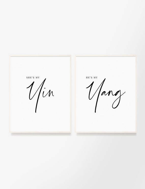 Yin and Yang. Set of 2 printable wall art quotes. Soulmate love and soul  connection out of this world. Soul mates. Perfect balance. Destiny.