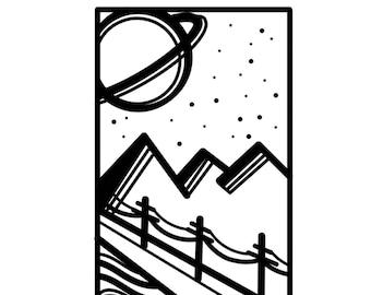 Line-work Landscape Scene Temporary Tattoo / Sticker