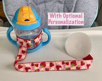 Strawberry Sippy Cup Leash   Sippy Cup Strap w/ Suction Cup   Suction Sippy Strap   Bottle Strap   Toy Leash   Bottle Tether Baby Girl Gift