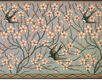 Swallows art print, Art nouveau wall art, Vintage animal art, Antique nature art, Flying swallow birds, Almond blossoms, Branches, Floral