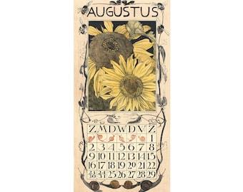 August art print, August calendar, Arts and crafts, Craftsman, Month of August birthday, Autumn art, Fall art, August birth month, Sunflower
