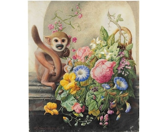 Antique Monkey painting art print, Herman Henstenburgh, Still Life with Monkey, Flowers, Classical animal painting, Vintage animal wall art