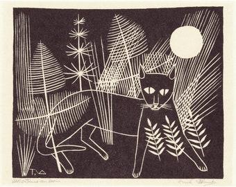 c6d5bd45fb3 Cat and moon art print