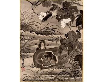 Ordinaire Mice Art Print, Garden Art Print, Nature Art Print, Garden Wall Art, Nature Wall  Art, Mouse, Melon, Watermelon, Asian Art, Japanese Art