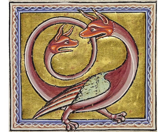 The two-headed Bird Dragon Ouroboros from the Aberdeen bestiary Illuminated manuscript