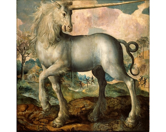 Antique unicorn art print Unicorn painting Vintage unicorn | Etsy