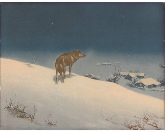 Wolves dark snowy night by Alfred Kowalsky-Wierusz vintage art