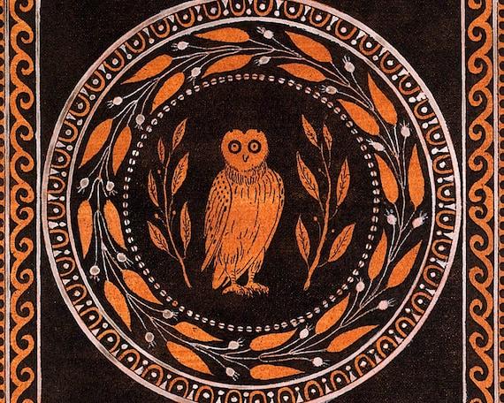 Owl Of Minerva Art Print Owl Of Athena Painting Ancient Greek Mythology Antique Mythological Wall Art Vintage Owl Art Wisdom Knowledge