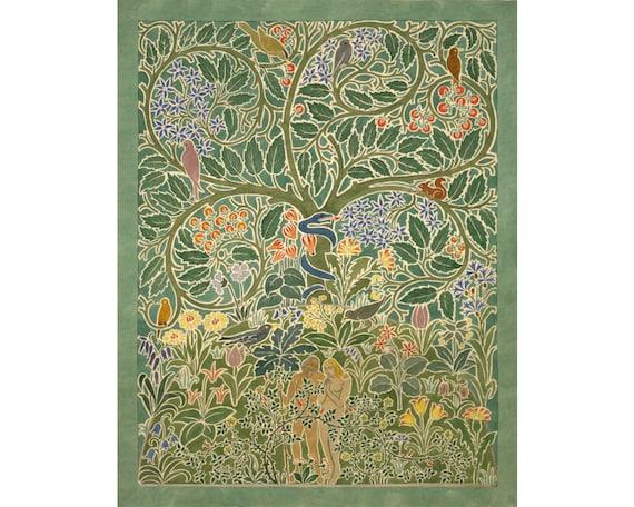 Adam and Eve art print Garden of Eden painting Tree of   Etsy