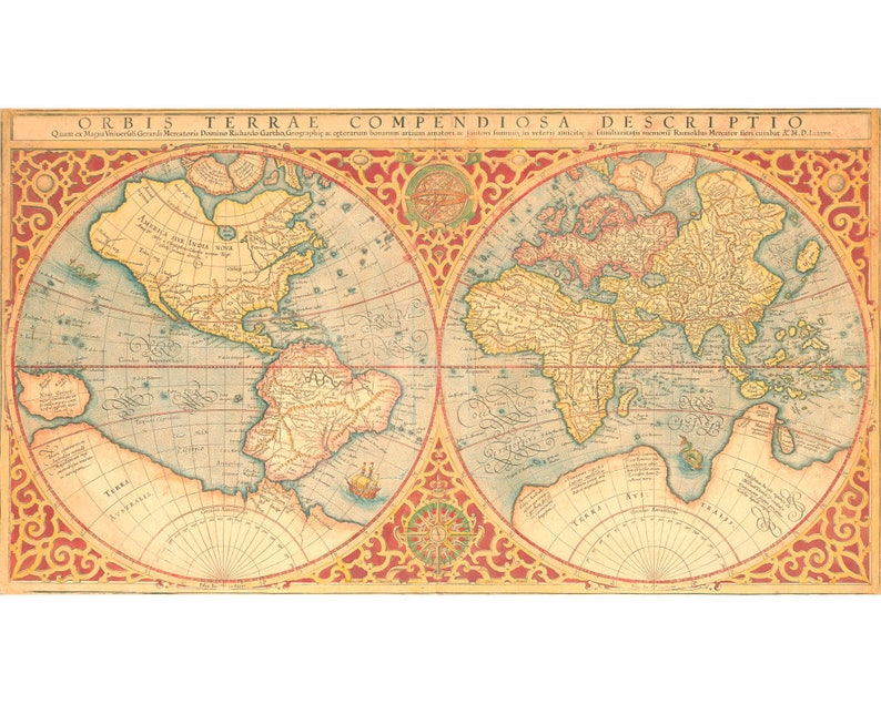 Antique Map Of The World Antique World Map Art Print Old Etsy