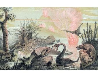 The Primitive World, Adolphe François Pannemaker, 19th century dinosaur painting, Paleoart, Paleo illustration, Prehistoric animals wall art