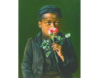 African American boy fine art print, Child smelling a rose, Black child portrait, People of color, Antique oil painting, Vintage wall art