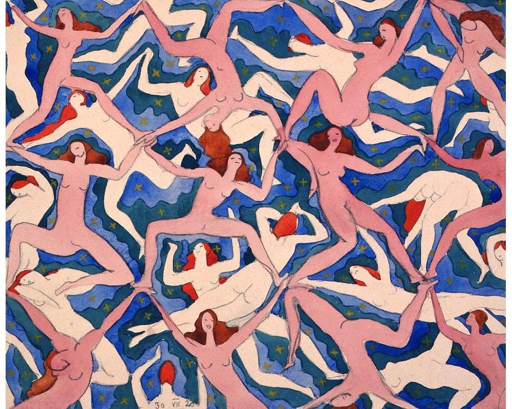 Blue naked women Nude Women Dancing Art Print Emanuel Frinta Bez Nazvu 1920 Etsy