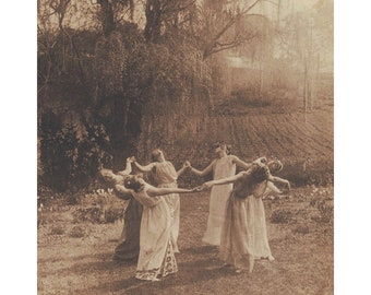 Circle of Witches antique photograph print, Vintage women dancing art print, Wiccan, Pagan, Coven, Seance, Nature goddess, Sepia photography