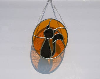 Stained glass suncatcher Halloween Cat hanging from silver steel chain