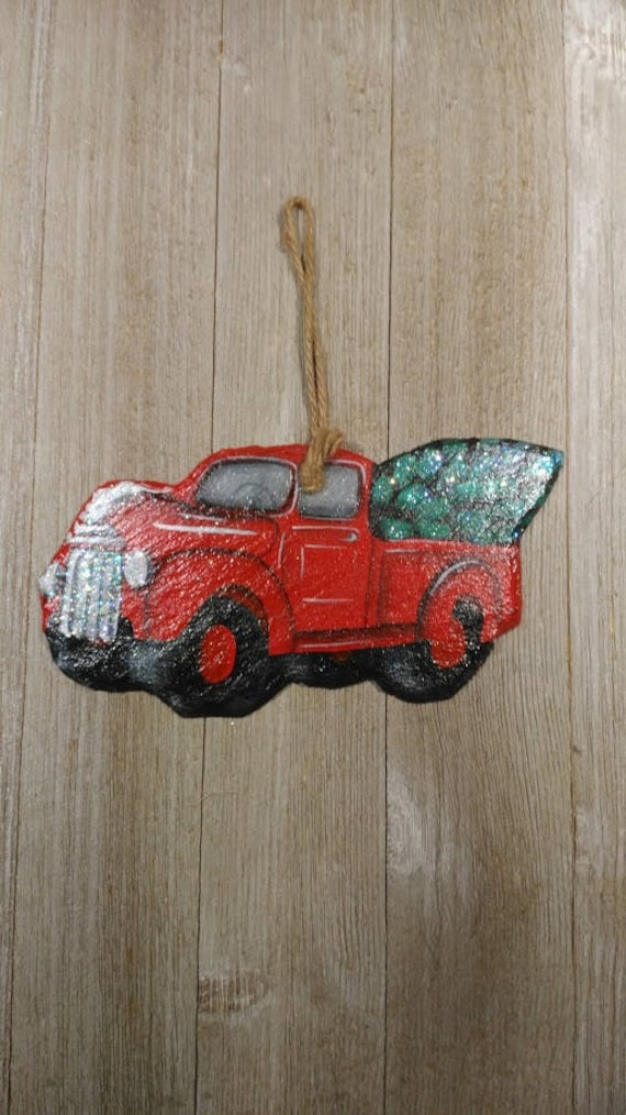 Old Red Truck With Christmas Tree In Back.Old Red Ford Chevy Truck Slate Christmas Ornament Art Hand Painted In Wv Appalachian Mountains 100 Year Old Antique Recycled Roof Slate