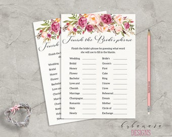 floral finish the brides phrase bridal shower game digital bridal trivia pink peonies bohemian printable flowers shower quiz bg014