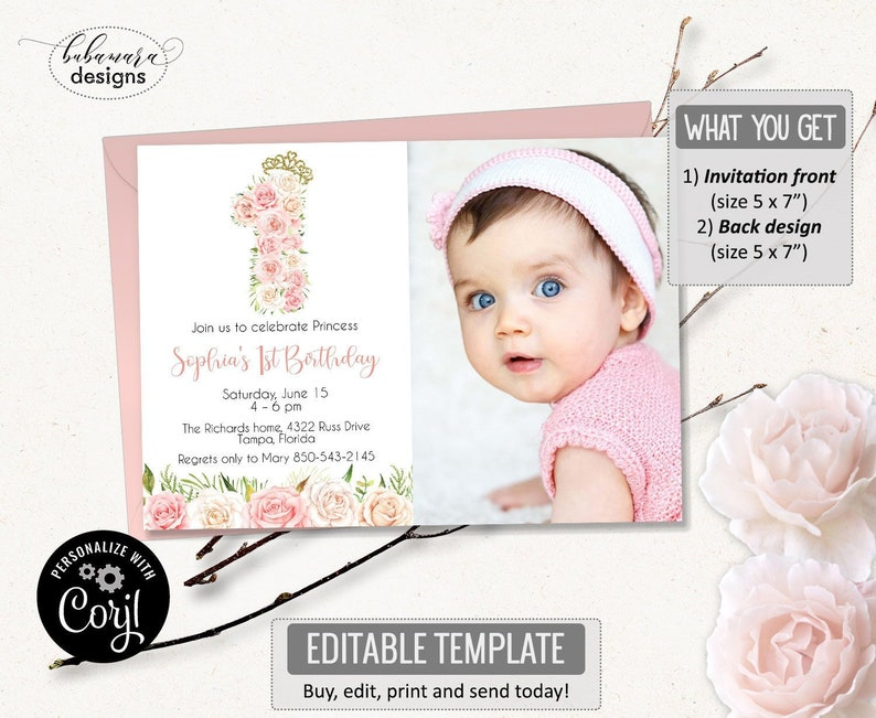 Editable First Birthday Invitation Template 1st Girl Gold Blush Pink Floral Number One Invite CEP117