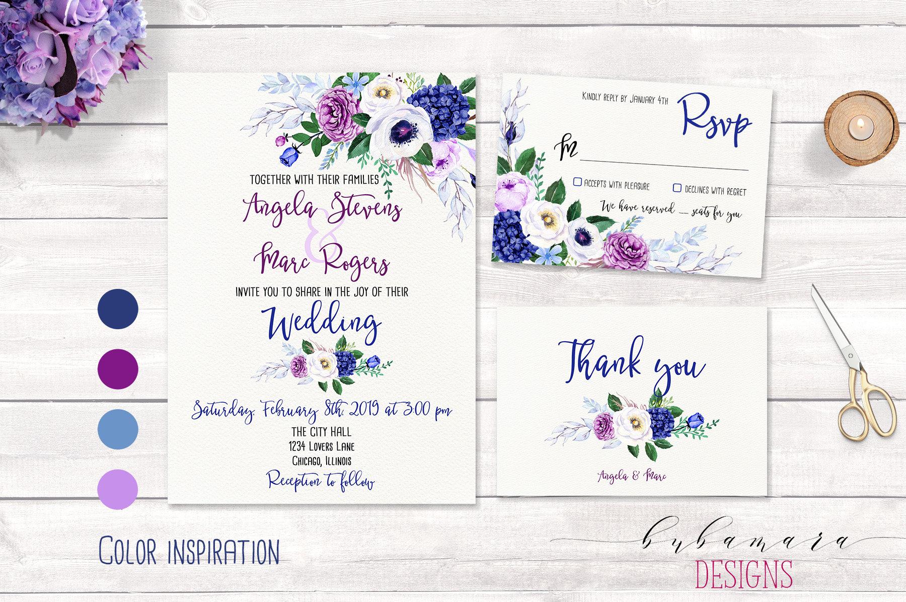 Purple And Blue Wedding Invitations: Purple Blue Floral Wedding Invitation Set Boho Navy Lilac