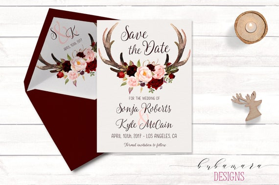 antlers save the date invitation floral burgundy autumn save etsy
