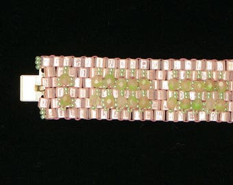 Pink/green crystal cuff