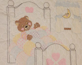 Vintage handmade Embroidered Crib Blanket. Tuck me in at Bedtime Bear baby blanket