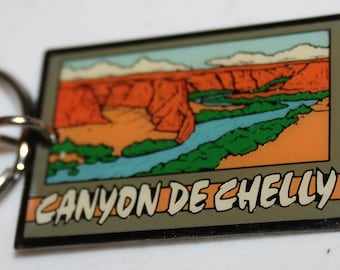 Canyon De Chelly Keychain - Vintage Arizona memorabilia souvenir keyring keychain - Colorful Canyon with water