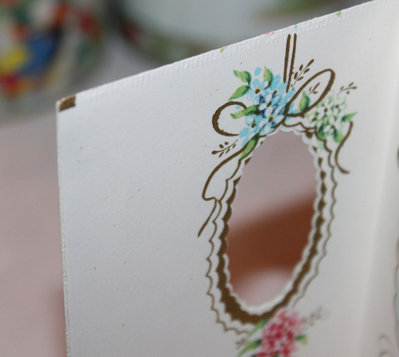 For the Bride and Groom Vintage Unused Wedding Greeting Card with Wedding Flowers and Bells Ephemera