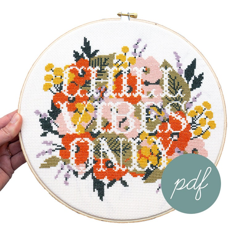 Chill Vibes Only Large Modern Cross Stitch Pattern *PDF Only