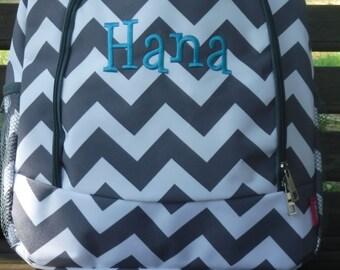 8f0950b6f311 Monogrammed Gray Chevron Backpack -Personalized Gift-Monogram Backpack-Personalized  Backpack-Monogrammed Backpack-Embroidered Backpack