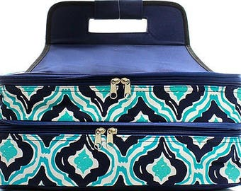 Embroidered Blue Ikat Casserole Carrier-Personalized Casserole Carrier-Monogram Wedding Gift-Embroidered Casserole Carrier