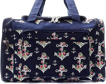 Embroidered Rose Anchor Duffle-Monogram Duffel-Personalized Overnight Bag-Embroidered  Duffel-Monogram Overnight Bag-Monogrammed Duffle 772c687f498ea