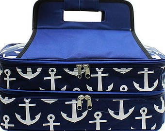 Embroidered Navy Anchor Casserole Carrier-Personalized Casserole Carrier-Monogram Wedding Gift-Embroidered Casserole Carrier